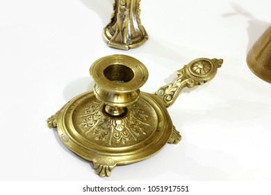 Candlestick. Figurine made of copper. Candlesticks. Gold