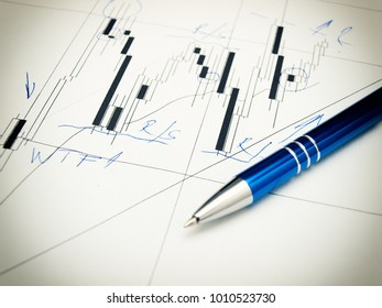 Candlestick forex graph and pencil.