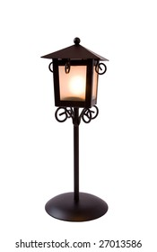 Candlestick in form of street lantern. Isolated on white.