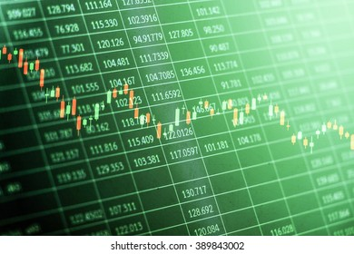 Candlestick graph overlaid on a black spreadsheet with random numerical data as a conceptual art for stock market situations with green photo filter applied