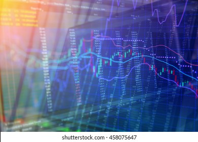 Candlestick graph overlaid on a black stock trading board with numerical data as a conceptual art for stock market situatio