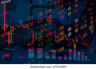 candlestick graph price down mixed with bar chart and stock market led screen with young investor business women using computer background.