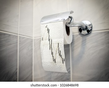 Candlestick graph printed on a toilet paper.