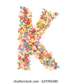 Candy alphabet of different colours