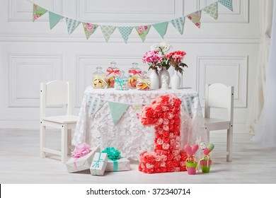 Candy bar at 1st Birthday party