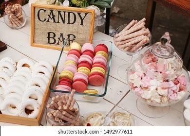 Candy bar. Delicious wedding reception candy bar , dessert table.