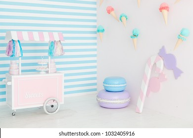 Candy bar interior with icecream on wall