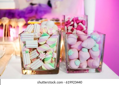 Candy Bar and sweet buffet with marshmallows