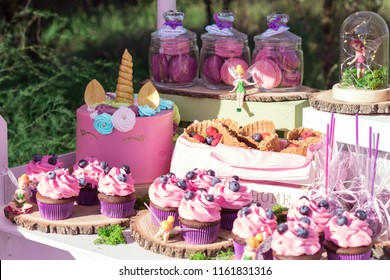 Candy Bar with Sweets. Cake, cookies, lemonade, creamy muffins, fresh berries for celebratory birthday. Candy Bar on the Outdoors.
