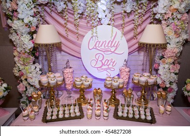 Candy bar. Table with sweets, candies, dessert