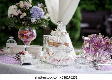 Candy bar at wedding reception