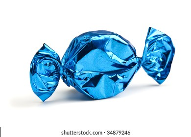 candy in blue wrapper isolated on white