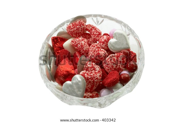 Candy bowl full of hearts clipping path