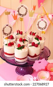 candy buffet with  souffle in glasses and paper labels for text