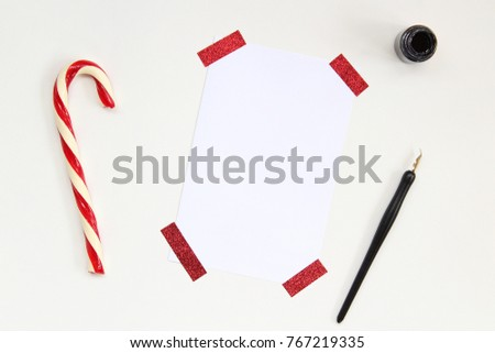 candy cane blank paper pen copy stock photo edit now 767219335