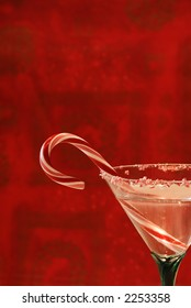 Candy Cane Cocktail - A beverage in a pretty glass ready to toast the holidays.