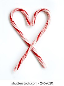 Candy Cane Heart on Isolated White Background