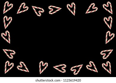 A candy cane hearts frame isolated on black