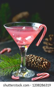 Candy cane vodka, traditional christmas peppermint pink cocktail in martini glass with ice cubes on a black background