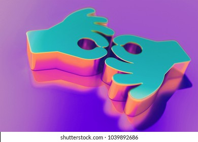 Candy Color American Sign Language Interpreting Icon on Purple Background With Soft Focus. 3D Illustration of Deaf, Disabled, Finger, Gesture, Gestures Icon Set for Presentation.