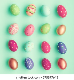 Candy color easter eggs over mint
