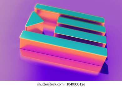 Candy Color Indent Icon on Purple Background With Soft Focus. 3D Illustration of Align, Document, Grid, Indent, Paragraph, Right, Text Icon Set for Presentation.