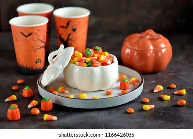 Candy corn and candy pumpkin for Halloween party.