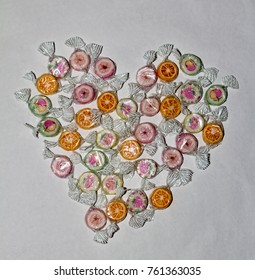 Candy Heart on white paper