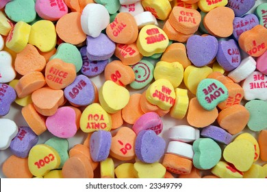candy hearts background from above
