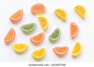 candy and jelly sweet close up, jelly candy flavor fruit, candy dessert colorful on sugar