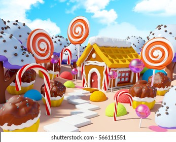 candy land landscape with gingerbread house in sweet forest. 3d illustration.