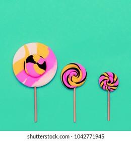 Candy Lolipop Set Sweet Fashion art. Flatlay Design