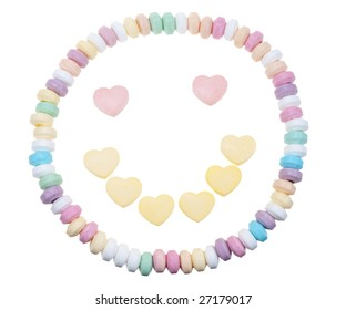 Candy necklace happy face isolated on a white background