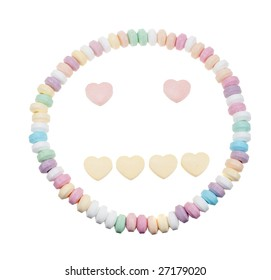Candy necklace neutral face isolated on a white background