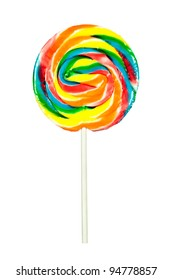 A candy pinwheel sucker isolated on a white background