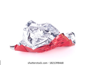 candy red wrapper empty and open isolated on white background with copy space for your text