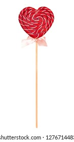 Candy in the shape of a heart, Candy for Valentine's Day Lollipops on a white background