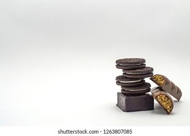 Candy sweet chokolate close-up isolate cream caramel nut