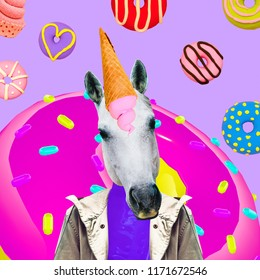 Candy Unicorn. Contemporary art collage. Funny Fast food minimal project