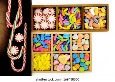 candy  in  wooden box