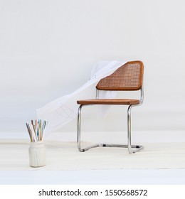 Cane chair on white background. Furniture design concept.