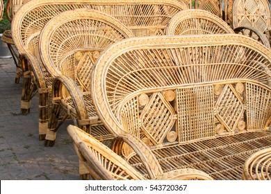 Cane furnitures , sofas made of cane, handicrafts on display during the Handicraft Fair in Kolkata - the biggest handicrafts fair in Asia.