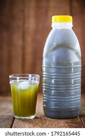 Cane juice or garapa, in plastic bottle. organic drink extracted from sugar cane milling.