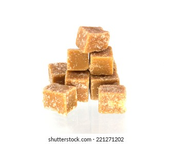 cane sugar on white background