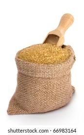 Cane sugar in small burlap sack
