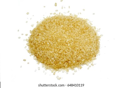 cane sugar unrefined, dry demerara isolated on the white background