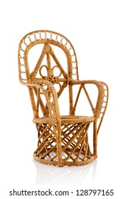 Cane wicker chair isolated over white background