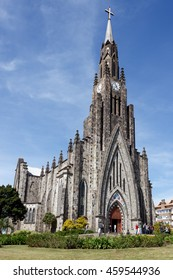 CANELA, BRAZIL - AUGUST 29: Church of Our Lady of Lourdes, Canela, Rio Grande do Sul, Brazil on August 29, 2015. Also known as Stone Cathedral, it is a major tourist attraction of the Serra Gaucha.