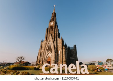 CANELA, RIO GRANDE DO SUL, BRAZIL - AUGUST, 2017 - Cathedral of Stone of Canela, Cathedral of Our Lady of Lourdes