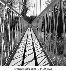 Canford Magna, Dorset, United Kingdom -   July 9 2017: Suspension Bridge
